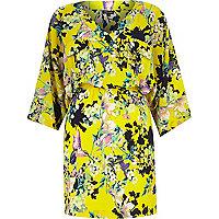 Yellow crepe floral print kimono dress