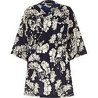 Navy crepe floral print kimono dress