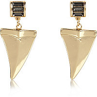 Gold tone diamante dangle tusk earrings