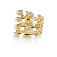 Gold tone multi row finger top ring