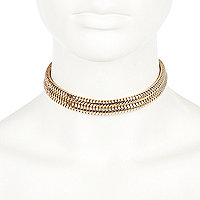 Gold tone double row choker necklace