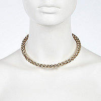 Gold tone torque chain necklace