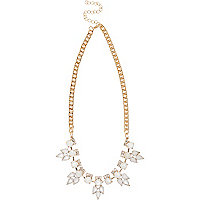 Gold tone short opal chain necklace