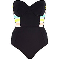 Black strappy bandeau swimsuit