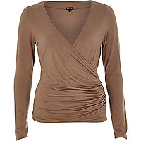 Brown wrap front long sleeve top