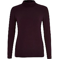 Dark red polo neck top