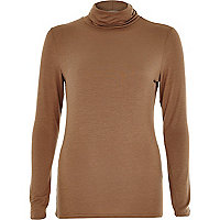Brown polo neck top