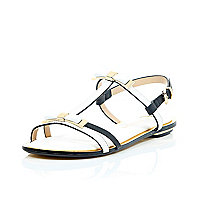White leather-look bow trim sandals