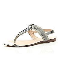 Grey silver trim sandals