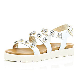 White leather embellished chunky sandals