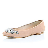 Pink suede embellished jewel ballerina pumps