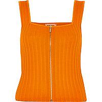 Orange ribbed zip front top