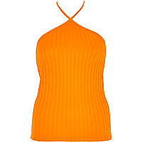 Orange chunky ribbed halter neck top