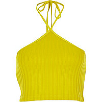 Yellow ribbed halter neck crop top