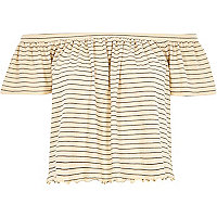 Cream striped frill bardot top