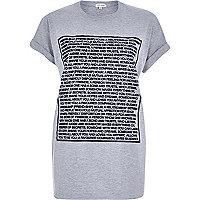 Grey friendship text print oversized t-shirt