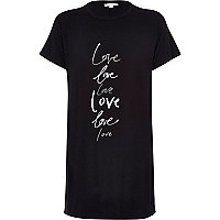 Black love print side split longline t-shirt