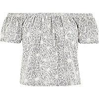 Grey floral print frill bardot top