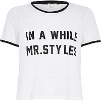 White Mr Styles slogan black trim t-shirt