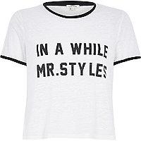 White burn out Mr Styles black trim t-shirt