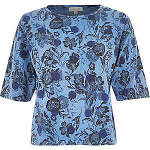 Blue floral spot print oversized boxy top