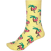 Yellow novelty flamingo print socks