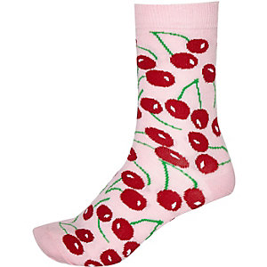 Pink novelty cherry print socks