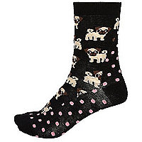 Black dog spot print socks