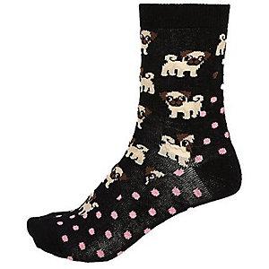 Black dog spot print socks