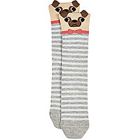 Grey novelty pug socks