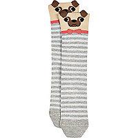 Grey novelty pug socks