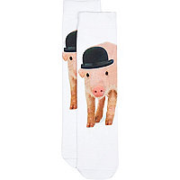 White photographic pig socks