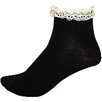 Black and cream cable knit frilly ankle socks