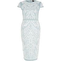 Blue foil print scuba midi column dress