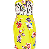 Yellow floral print strapless bandeau dress