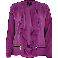 Purple draped long sleeve jacket