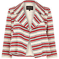 Red stripe cropped draped summer jacket
