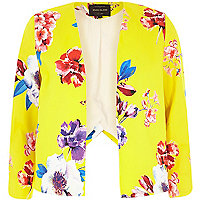 Yellow floral print structured cropped jacket