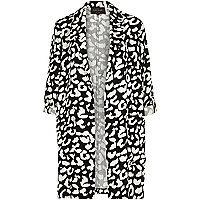 Black monochrome print turned sleeve jacket