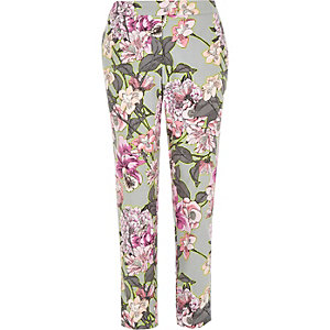 Grey floral print smart cigarette pants