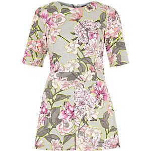 Grey and pink floral print playsuit