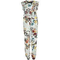 Grey floral print wrap front jumpsuit