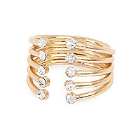 Gold tone diamante encrusted open ring