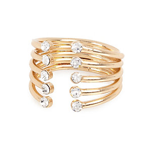 Gold tone diamante encrusted open ring