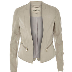 Beige leather-look fitted jacket