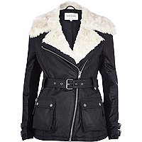Black faux fur collar belted biker jacket