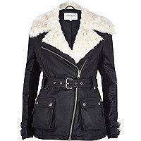 Black faux fur collar belted biker jacket