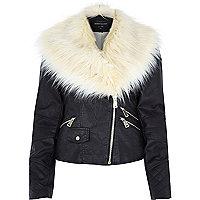 Black leather-look faux fur trim biker jacket