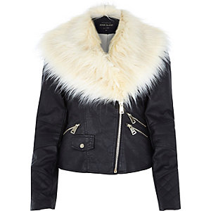 Black leather-look faux fur trim biker jacket
