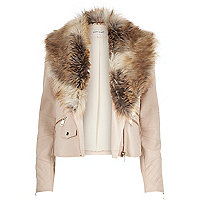 Beige leather-look faux fur trim jacket